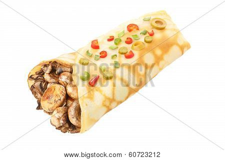 Crepe Stuffed With Mushrroms Decorated