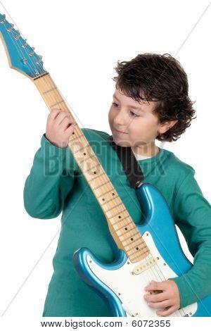 Junge Whit e-Gitarre