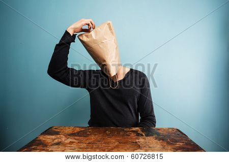 Confused Man With Bag Over Head