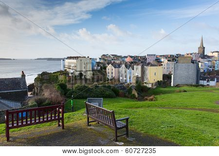 View of Tenby town and harbour Pembrokeshire Wales historic Welsh town