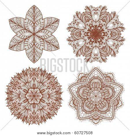 Set Of Four Hand Drawn Ethnic Circular Mehandi Ornaments