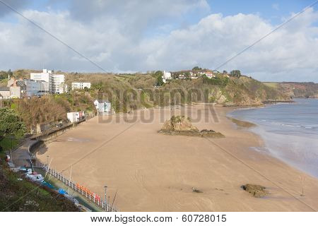 Tenby beach and coast Pembrokeshire Wales historic Welsh town