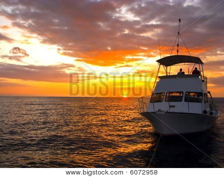 Silhouette Dive Boat In Hawaii