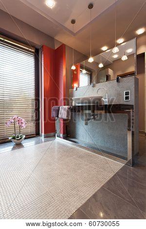Countertop And Mirror In Bathroom