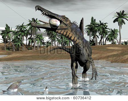 Spinosaurus dinosaur eating fish - 3D render