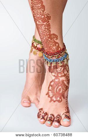 Mehendi Painted On Legs