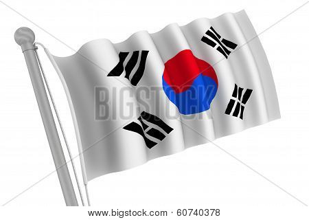 Korea South Flag On Pole