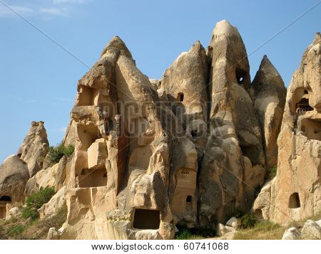 House caves panoramic view at Cappadocia Turkey