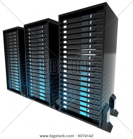 Servers with blue wire frame