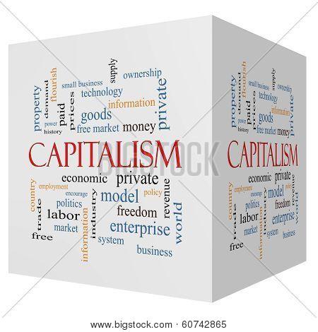 Capitalism 3D Cube Word Cloud Concept