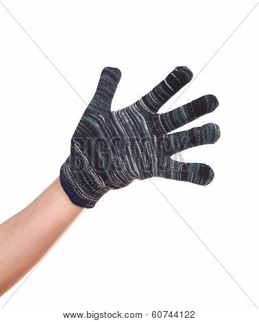 Hand In A Woollen Glove On White Background