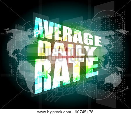 Words Average Daily Rate On Digital Touch Screen