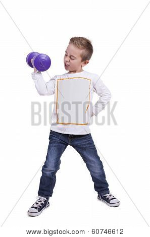 Elementary boy exercising with dumbbell