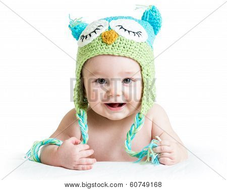 Baby In Funny Knitted Hat Owl On White Background