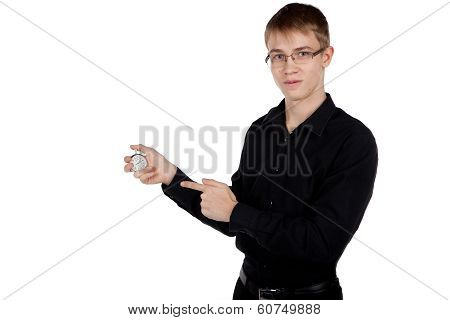 Young Man With A Stopwatch In Hand On White Background