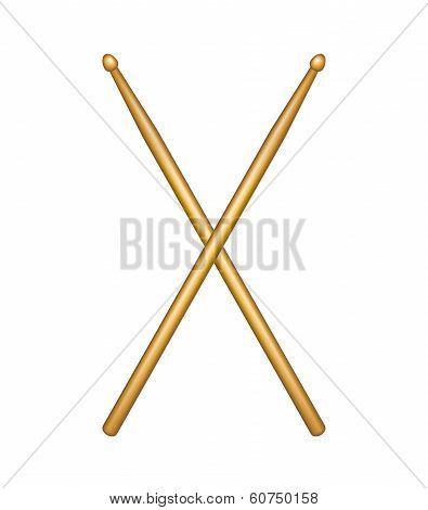 Crossed pair of wooden drumsticks