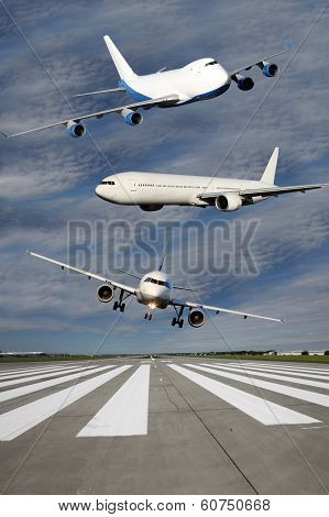 Three Airliners Flying Over Runway