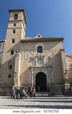 Church Of San Ildefonso In Sidewalk Of San Ildefonso. Granada, Church Of Mudejar Style, 16Th Century