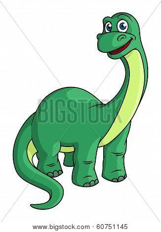 Adorable green cartoon dinosaur mascot