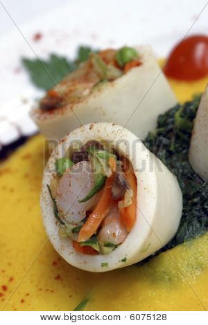 stuffed squid with seafood.