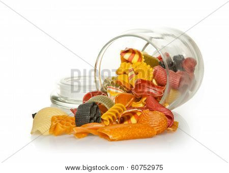 Jar of colourful Pasta