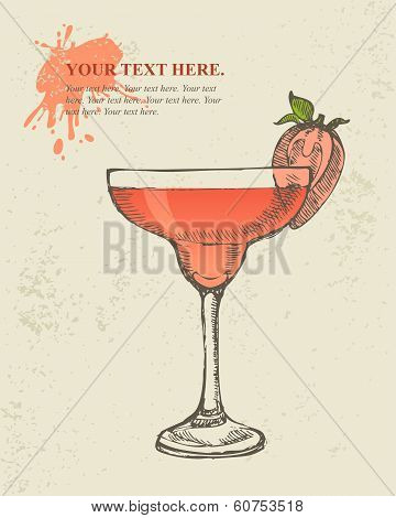 Hand drawn illustration of tropical red cocktail.