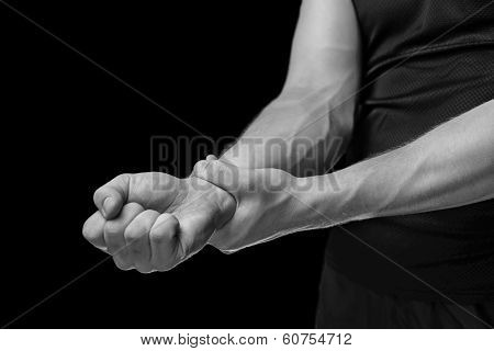 Pain In A Male Wrist, Monochrome Image
