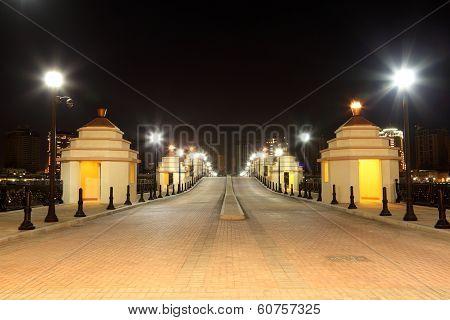 Bridge In Porto Arabia At Night. Doha