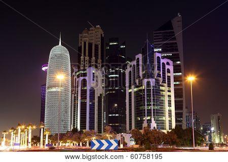Doha Downtown At Night