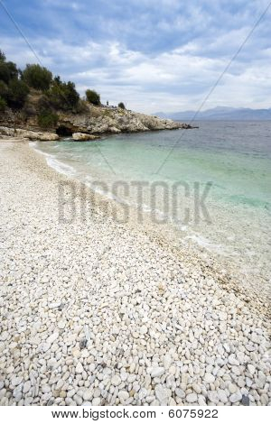Pebbly Beach At Kassiopi, Corfu, Greece