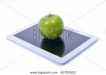 Green Apple And Tablet