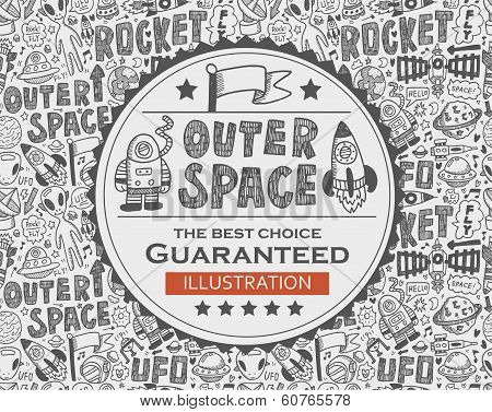 Outer Space Doodle Background