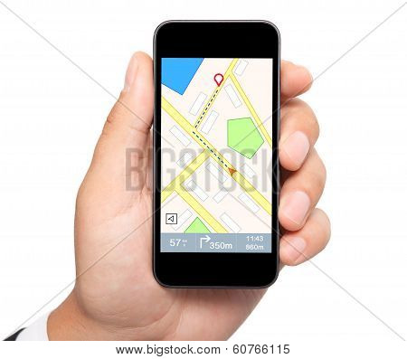 Isolated Man Hand Holding Phone With Interface Navigator On A Screen