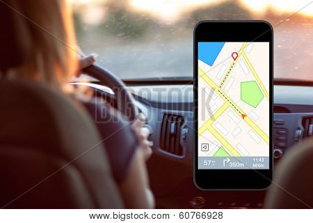 Phone With Interface Navigator On A Screen On A Background Woman Driving A Car
