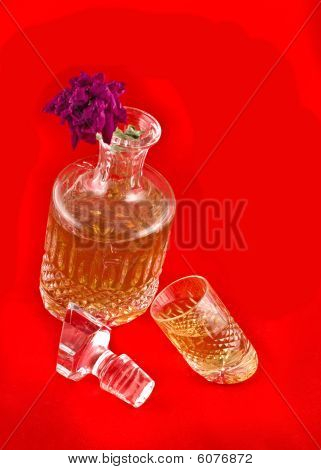 Crystal Decanter With Jigger For Alcoholic Beverage And Flower