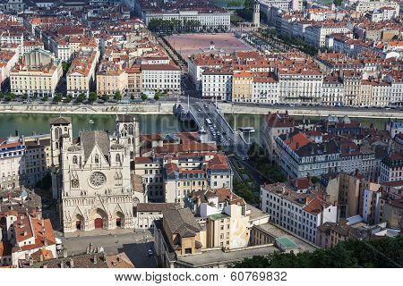 Famous View Of Lyon With Cathedral