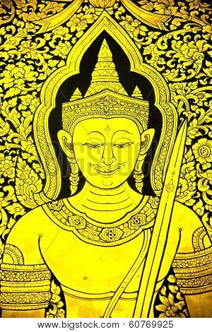 Mural Of Ramayana In Thai Temple