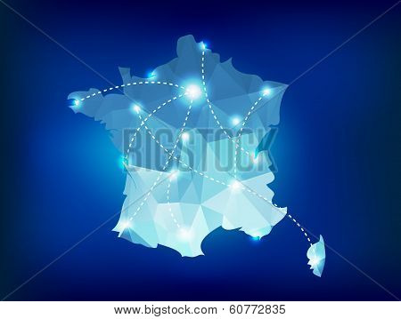 France Country Map Polygonal With Spot Lights Places