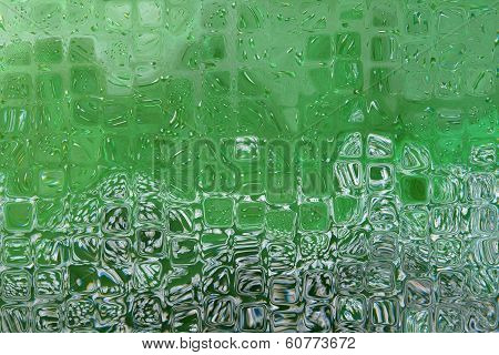 Abstract Background With Green Transparent Cube Shape.