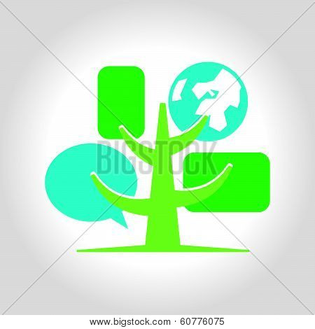 Digital tree icon logo template.