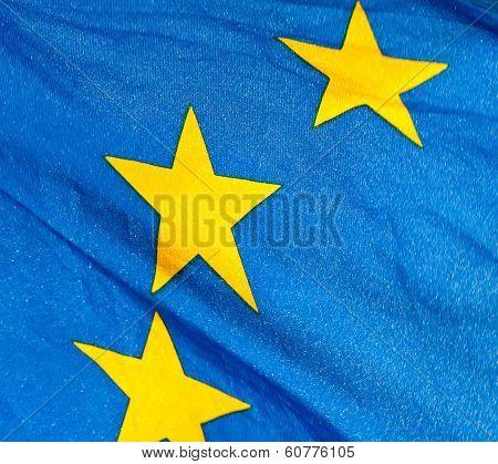 A  Fragment Of The Waving European Union Flag
