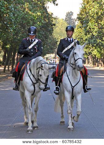 Horse Mounted Police Borghese Gardens, Rome Italy