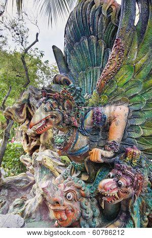 Garuda Statue In Haw Par Villa Closeup