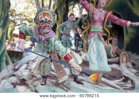 Chinese Painted Face Warrior Statue