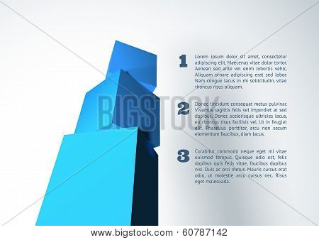 Infographic with blue 3D cube pyramid
