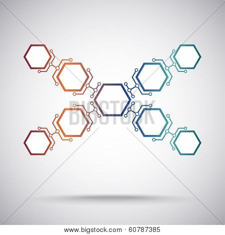 Communication Of Nine Hexagonal Cells. Gradient