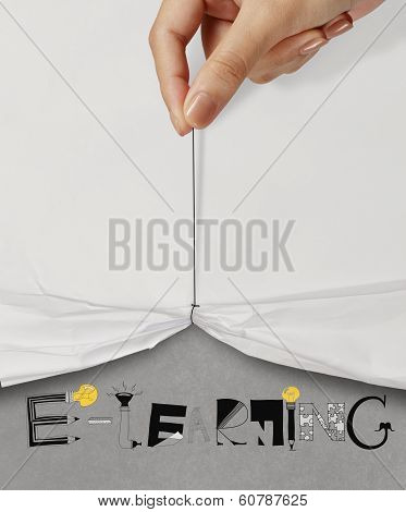 Business Hand Pull Rope Open Wrinkled Paper Show E-learning Design Text As Concept