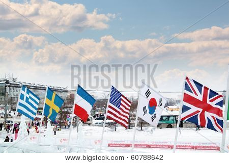 Perm, Russia - Jan 6, 2014: Flags Of Participating Countries Of Winter Olympic Games In Ice Town, Cr