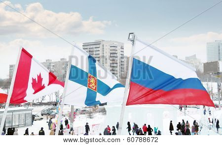 Perm, Russia - Jan 6, 2014: Flags Of Participating Countries (canada, Finland, Russia) Of Winter Oly