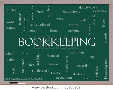 Bookkeeping Word Cloud Concept On A Blackboard